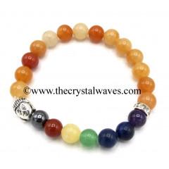 Red Aventurine Round Beads Chakra Bracelet With Buddha Charm