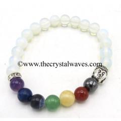 Opalite Round Beads Chakra Bracelet With Buddha Charm