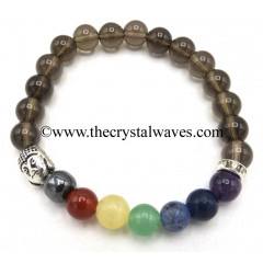 Smoky Quartz Round Beads Chakra Bracelet With Buddha Charm