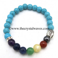 Turquoise With Matrix Manmade Round Beads Chakra Bracelet With Buddha Charm