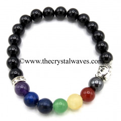 Black Tourmaline Round Beads Chakra Bracelet With Buddha Charm