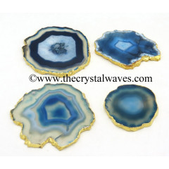 Blue Agate Gold Electroplated Coaster Slices