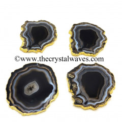 Black Agate Gold Electroplated Coaster Slices