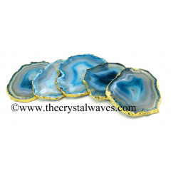 Persian Blue Agate Gold Electroplated Coaster Slices