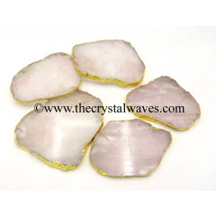 Rose Quartz Electroplated Coaster Slices