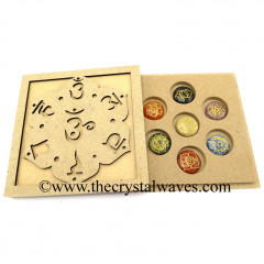 Chakra Sanskrit Letters Engraved Flat Wooden Box With Gemstone Round Cabochon Engraved Chakra Set