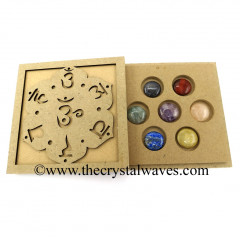 Chakra Sanskrit Letters Engraved Flat Wooden Box With Gemstone Round Cabochon Chakra Set
