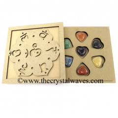 Chakra Sanskrit Letters Engraved Engraved Flat Wooden Box With Gemstone Pub Heart Chakra Set