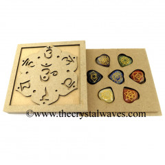 Chakra Sanskrit Letters Engraved Flat Wooden Box With Gemstone Pub Heart Engraved Chakra Set