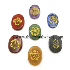 Fine Engraved Chakra Symbols With Chakra Letters Oval Cabochon Chakra Set