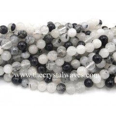 Black Rutialated Quartz Round Beads