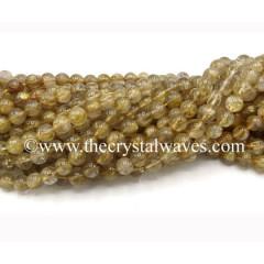 Golden Rutilated Quartz Round Beads