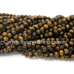 Yellow Tiger Eye Agate Round Beads