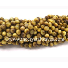 Yellow Tiger Cat's Eye Round Beads