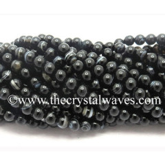 Black Banded Sulemani Agate 8 mm Round Beads