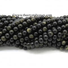 Black Gold Sheen Obsidian 8 mm Round Beads