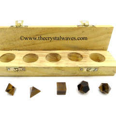 Tiger Eye Agate 5 Pc Geometry Set With Wooden Box