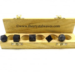 Blue Aventurine 5 Pc Geometry Set With Wooden Box
