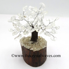 Crystal Quartz 50 Chips Brown Bark Silver Wire Gemstone Tree With Wooden Base