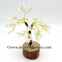 Crystal Quartz 50 Chips Brown Bark Golden Wire Gemstone Tree With Wooden Base