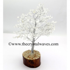 Crystal Quartz 50 Chips Silver Wire Gemstone Tree With Wooden Base