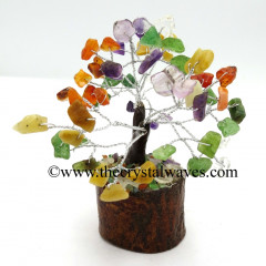 Mix Gemstone 50 Chips Brown Bark Silver Wire Gemstone Tree With Wooden Base