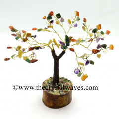 Mix Gemstone 50 Chips Brown Bark Golden Wire Gemstone Tree With Wooden Base