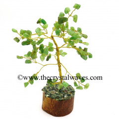Green Aventurine 50 Chips Brown Bark Silver Wire Gemstone Tree With Wooden Base