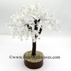 Crystal Quartz 100 Chips Brown Bark Silver Wire Gemstone Tree With Wooden Base