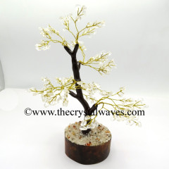 Crystal Quartz 100 Chips Brown Bark Golden Wire Gemstone Tree With Wooden Base