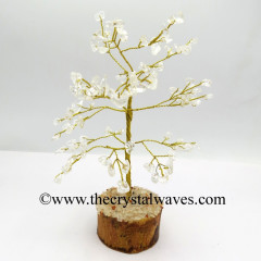 Crystal Quartz 100 Chips Golden Wire Gemstone Tree With Wooden Base