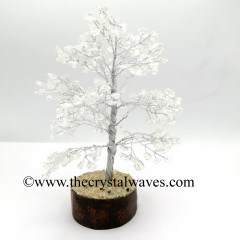 Crystal Quartz 100 Chips Silver Wire Gemstone Tree With Wooden Base