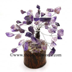 Amethyst 100 Chips Brown Bark Silver Wire Gemstone Tree With Wooden Base
