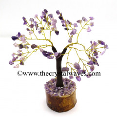 Amethyst 100 Chips Brown Bark Golden Wire Gemstone Tree With Wooden Base
