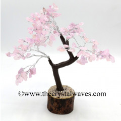 Rose Quartz 100 Chips Brown Bark Silver Wire Gemstone Tree With Wooden Base
