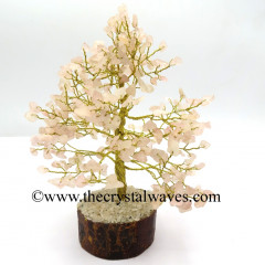 Rose Quartz 100 Chips Golden Wire Gemstone Tree With Wooden Base