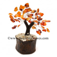 Carnelian 100 Chips Brown Bark Silver Wire Gemstone Tree With Wooden Base