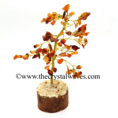 Carnelian 100 Chips Golden Wire Gemstone Tree With Wooden Base