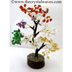 Mix Gemstone 100 Chips Brown Bark Golden Wire Gemstone Tree With Wooden Base