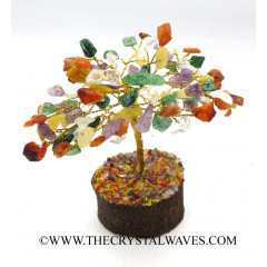 Mix Gemstone 100 Chips Golden Wire Gemstone Tree With Wooden Base