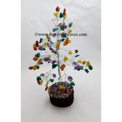 Mix Gemstone 100 Chips Silver Wire Gemstone Tree With Wooden Base