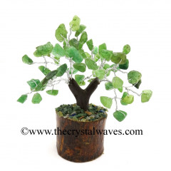 Green Aventurine 100 Chips Brown Bark Silver Wire Gemstone Tree With Wooden Base