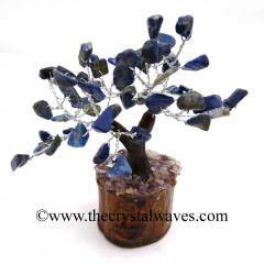 Lapis Lazuli 100 Chips Brown Bark Silver Wire Gemstone Tree With Wooden Base