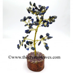 Lapis Lazuli 100 Chips Golden Wire Gemstone Tree With Wooden Base