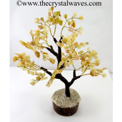 Yellow Aventurine 100 Chips Brown Bark Golden Wire Gemstone Tree With Wooden Base