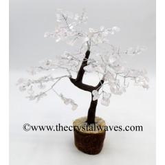 Crystal Quartz 200 Chips Brown Bark Silver Wire Gemstone Tree
