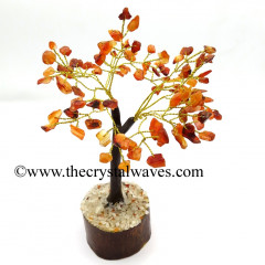 Carnelian 200 Chips Brown Bark Golden Wire Gemstone Tree With Wooden Base
