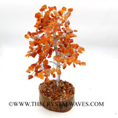 Carnelian 200 Chips Silver Wire Gemstone Tree With Wooden Base