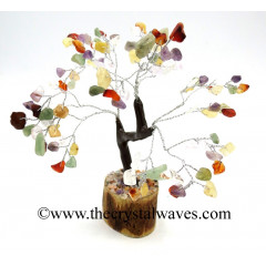 Mix Gemstone 200 Chips Brown Bark Silver Wire Gemstone Tree With Wooden Base