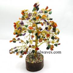Mix Gemstone 200 Chips Golden Wire Gemstone Tree With Wooden Base